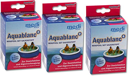 POWERHAUS24 mediPOOL 3 x Aquablanc + MiniPool-Set Sauerstoff, 3 x 320g