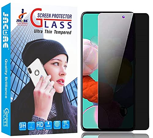 Jacure for Privacy Tempered Glass for Samsung Galaxy A71 Full Coverage 9H Hardness Anit-Explosion Light Private Protection Screen Protector Film – Black