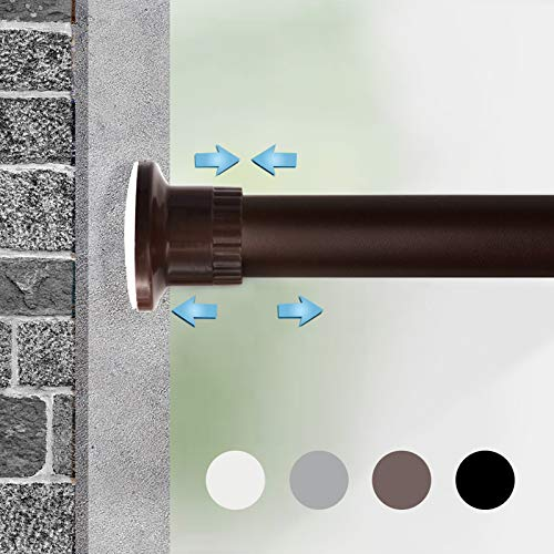 Moyeno Shower Curtain Rod Tension Rod Adjustable, No Drill Window Curtain Rod, Tension Curtain Rod Expandable Room Divider Blackout, Extra Long for Outdoor, Living Room - Bronze - 83-122 Inches