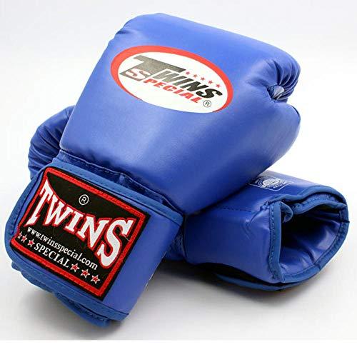 SHOUTAO 8 10 12 14 Unzen Zwillinge Handschuhe Kick Boxhandschuhe PU Leder Sanda Sandsack Training Schwarze Boxhandschuhe Männer Frauen Muay Thai Handschuhe@Blau_14oz