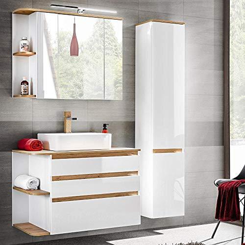 Lomadox Badmöbel Set Hochglanz weiß mit Eiche, Waschtisch-Unterschrank mit Keramik-Waschbecken, LED-Spiegelschrank & Hochschrank
