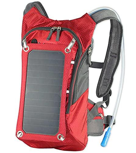 DYJXIGO Radfahren Solar Rucksack für Männer, Fahrrad Fahrrad 2L Wasserbeutel Hydratationsblase Rucksack Ultraleicht Radfahren Atmungsaktive Tagspakete Sporttaschen red