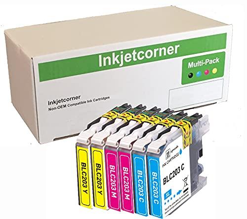 Inkjetcorner Compatible Ink Cartridges Replacement for LC203CL LC203XL for use with MFC-J460DW MFC-J480DW MFC-J485DW MFC-J680DW MFC-J880DW MFC-J885DW (2 Cyan 2 Magenta 2 Yellow, 6-Pack)
