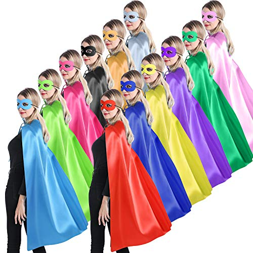 Adults Superhero Capes and Masks for Women Man or Teenagers - Party Costumes for Team Spirit Building - 12 Mixed Colors