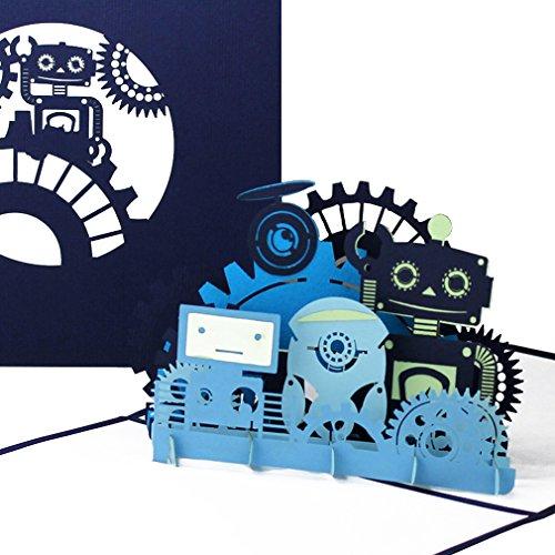"""Pop Up Karte """"Funny Robots"""" - lustige Roboter 3D Grußkarte als Geburtstagskarte, Gutschein, Einladungskarte - als Geschenkgutschein oder Geschenk zu Kindergeburtstag & Einschulung"""