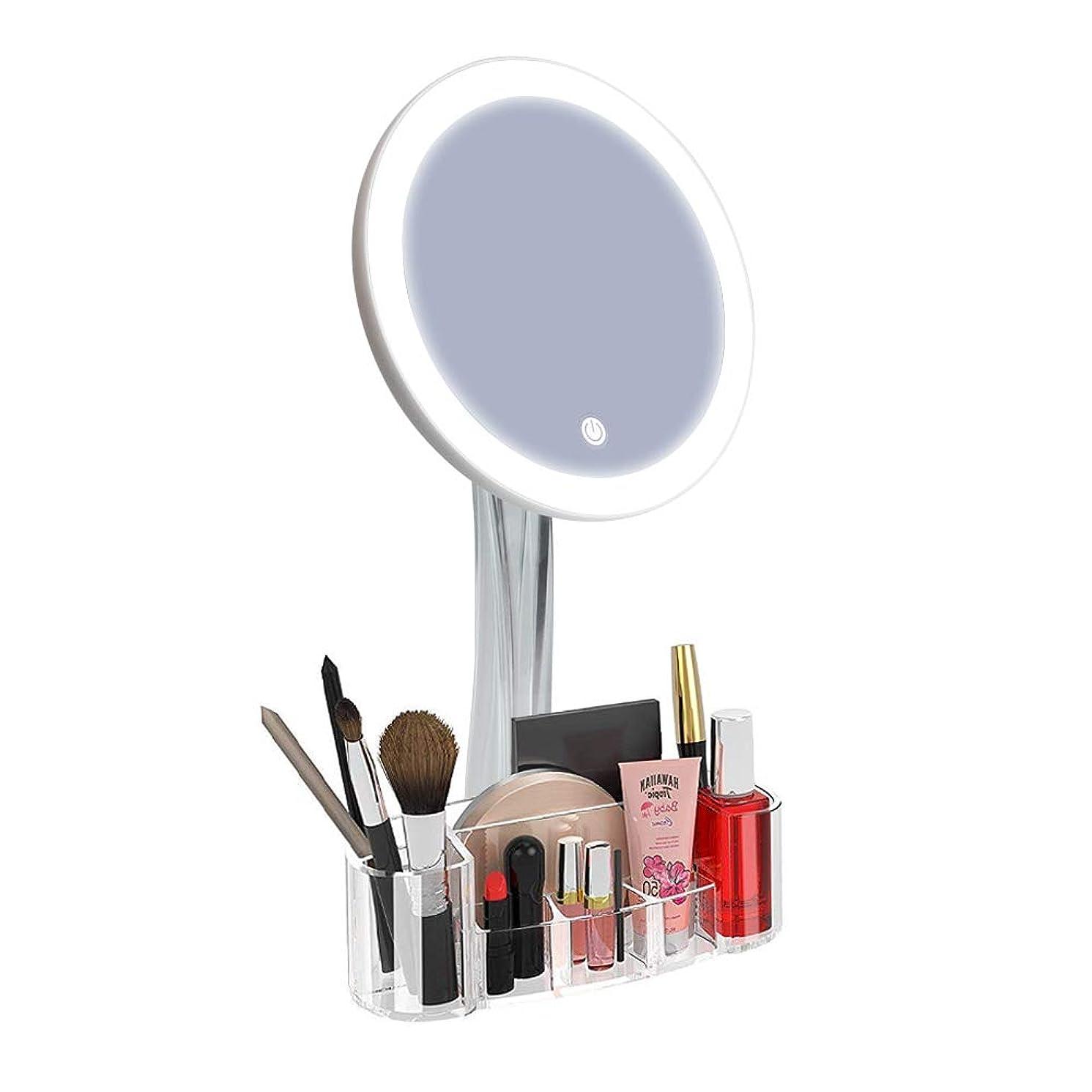 嘆願反射オーバードロー化粧鏡 メイクミラー 女優ミラー 鏡 卓上 16LEDライト付きミラー タッチスクリーン付きミラー 5倍拡大鏡 化粧品収納ボックス 明るさ調節可能 180度回転 USB/単三電池給電