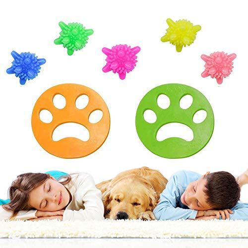 Haustier Haarentferner, 2x Wiederverwendbarer Tierhaarentferner + 5x Wäscherei Bälle, Haushaltsreinigungsset für Waschmaschinen, geeignet für Hundehaare, Katzenhaare und alle Haustiere(7 Stück)