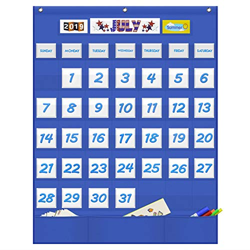 Eamay Classroom Monthly Calendar Pocket Chart with 43 Pocket, 3 Storage Pockets for Easy Wall or Stand Chart