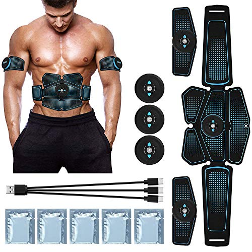 Duang Electroestimulador Muscular Abdominales AbS Muscle Stimulator USB Recargable Ultimate Stimulator 10PCS Gel Training Pads Equipo de Reemplazo para Damas Mens