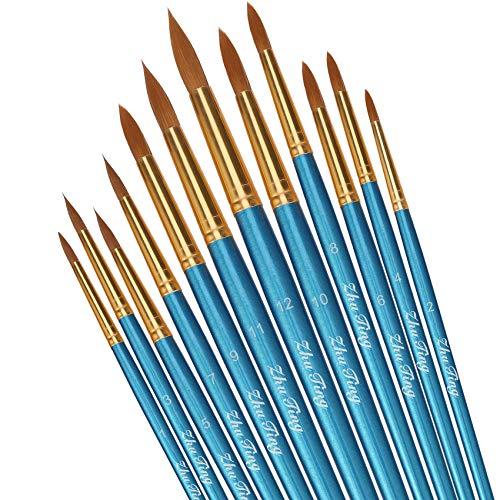 Pinsel teiliges Set,Nylon Pinsel, Nylonhaar Künstler Acrylpinsel für Acryl Aquarell Ölgemälde (braun) (Blau)
