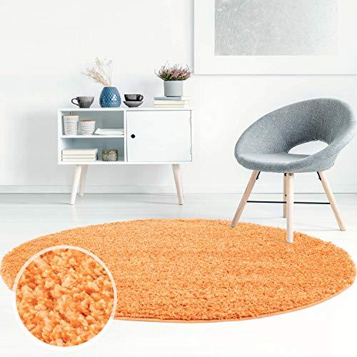 ayshaggy Shaggy Teppich Hochflor Langflor Einfarbig Uni Orange Weich Flauschig Wohnzimmer, Größe: 200 x 200 cm Rund