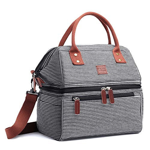 B4Life Dual Compartment Lunch Bag Large Lunch Box Insulated Cooler Tote Bag with Removable Shoulder Strap For Women - Stripes