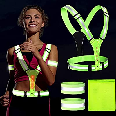 Adjustable Elastic Safety High Visibility Gear Set, 1 LED Reflective Running Vest Harness Vest, 2 Reflective Armbands, 1 Small Bag for Running Cycling Hiking in Night Sport, Lights Visible Men Women