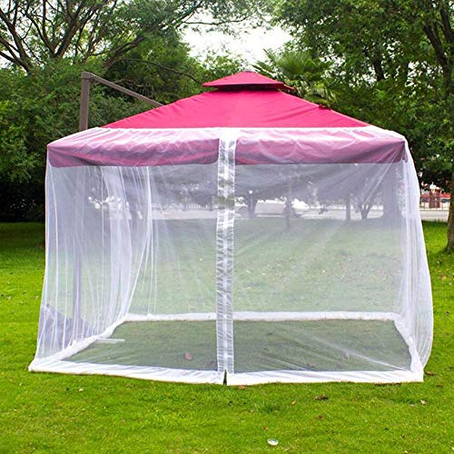Patio Umbrella Mosquito Netting - Outdoor Garden Umbrella Table Screen, Polyester Mesh Screen with Zipper Opening and Water Tube at Base to Hold in Place, White (300 * 300 * 230cm)