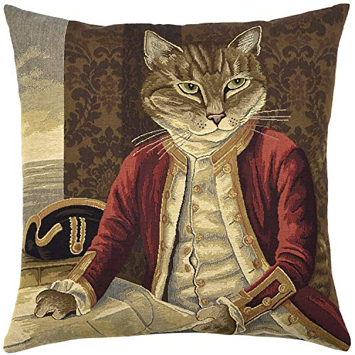 Mr.Q Pattern Throw Pillow Covers 16 X 16 Inch12.8 Dressed Cats Collection - Lord Nelson Design Mothers Day Throw Pillow Cover Knit Fade Stain Resistant for Couch Bed Adults Unisex-Adult Baby-Boys Car