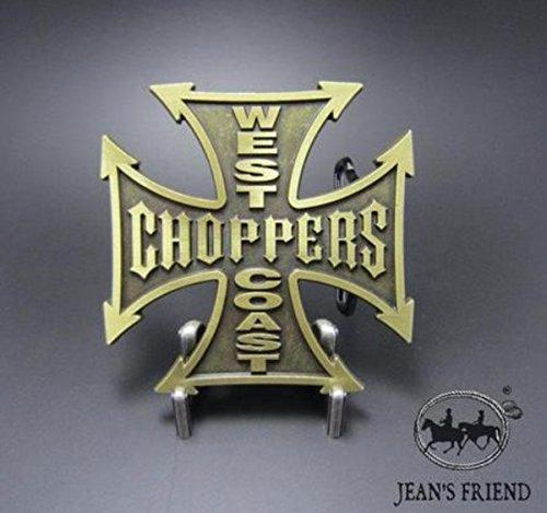 Napolo Cinturon de Hebilla Western Vintage Buckle Hombre Cruz Cuadrada Choppers Oro