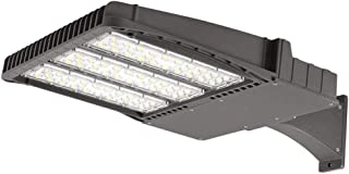 300W LED Parking Lot Light 42,000Lm LED Shoebox Pole Light 5000K Bright White with Photocell, 1200W HID/HPS Replacement with Arm Mount, Dusk to Dawn DLC & ETL Listed Waterproof LED Street Light Grey