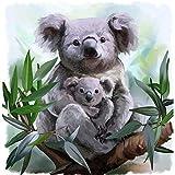 Xofjje Lienzo de Bricolaje Regalo de Pintura_Animales Koala_al óleo para Adultos niños Pintura por número_Kits Decoraciones para el hogar_40x40cm_Sin Marco