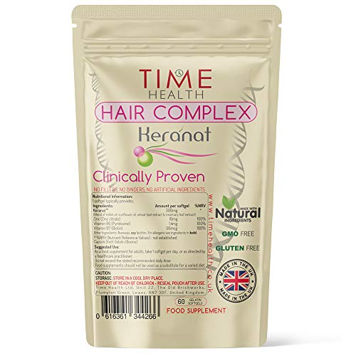 Hair Complex - Clinically Proven & Patented Formula Hair Formula for Women by Keranat - 60 Softgels - GMP Standards (60 Softgel Pouch)