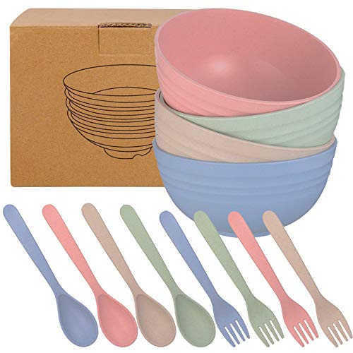 Xinzistar Unbreakable Cereal Bowls 24 OZ Lightweight Wheat Straw Cereal Bowls 4 Pcs Eco-Friendly Soup Rice Cereal Pasta Salad Bowl, with Spoon and Fork for Kids Adult