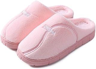 ypyrhh Home rutschfest Pantoffeln für,Paar Baumwollpantoffeln mit dicken Sohlen sowie Samtpantoffeln mit Ferse-D pink_36-3...