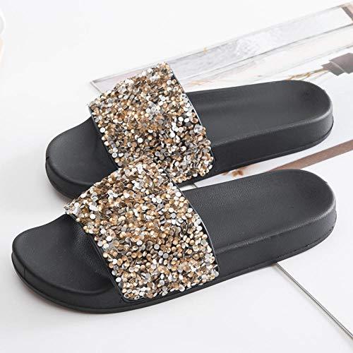 HUSHUI Chanclas Zapatos de Playa y Piscina,Zapatillas de Exterior Antideslizantes, Sandalias Acolchadas cómodas y duraderas-Amarillo 2_38,Mujeres Zapatos de Piscina Chanclas