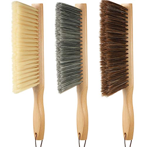 3 Pieces Wood Counter Duster Brushes Fireplace Bench Brush Soft Bristles Dusting Brush Hand Broom with Long Wooden Handle for Woodworking Bed Car Home Workshop