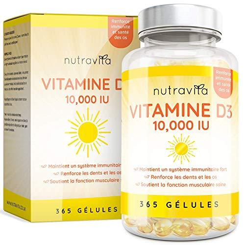 Vitamine D3 10000 IU - 365 Gélules – Articulations, Os Et Dents En Bonne Santé - 1 An D'Approvisionnement