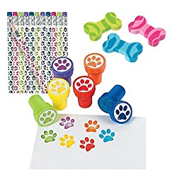 Paw Print Pencils, Paw Print Stampers and Dog Bone Erasers