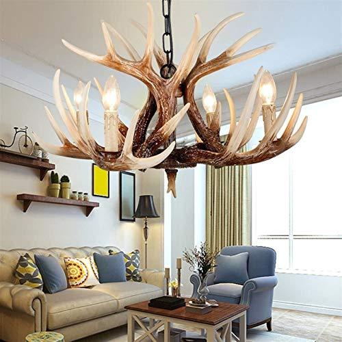 Lámparas de techo astas antiguos americanos 4 Luz Arañas de estilo europeo Jane Living Luces Restaurante Pasillo retro Lámparas resina de la vendimia ciervos cornamenta del cuerno