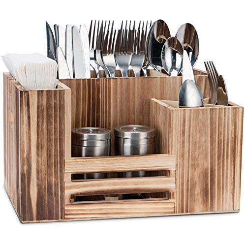 """Utensil Caddy Silverware Caddy Cutlery Caddy Wooden Cutlery Holder Antique Flatware Caddy Holder for Kitchen, Dining, Party, Picnics, 8 Compartments (Brown, 11.8x7.5x6.7"""")"""
