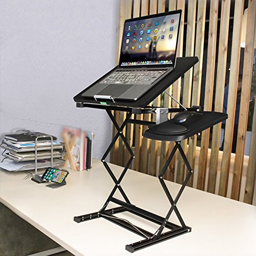 LVZAIXI Support Se Pliant de Plateau de Bureau de Tableau d'ordinateur Portable avec Le Panneau de Souris (Couleur : Noir)
