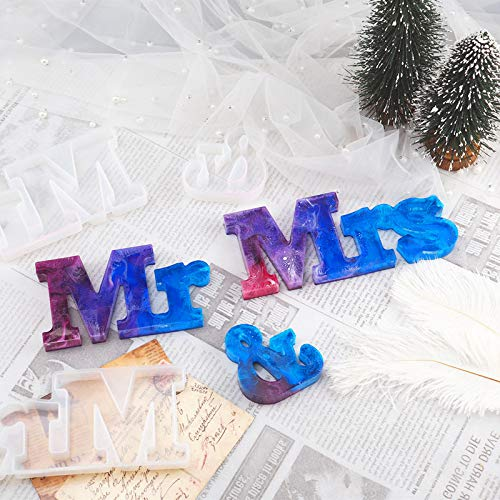Richoose 9PCS Mr&Mrs Word Sign Molds - 3PCS Letter Silicone Resin Casting Mold with 6PCS String Lights for DIY Epoxy Resin Molds Wedding Home Table Decor