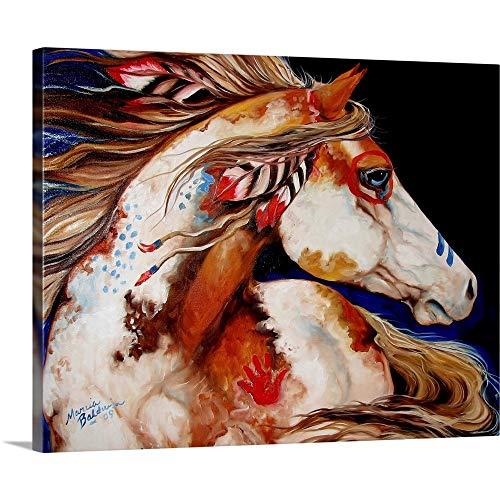 Indian War Horse Canvas Wall Art Print, Horse Artwork