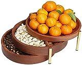 Frutero Chino Snack Platter Nueces Sirviendo Plato de Plato tazón Multi-Capa Tuerca de Madera Sirviendo Plato Creativo 3 Capa Frutas Druzas Sirviendo Bandejas ZSMFCD