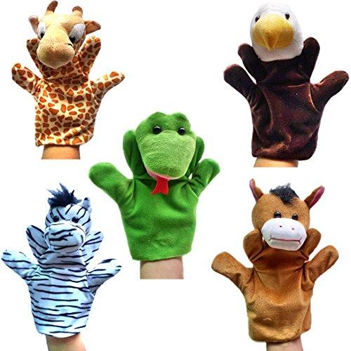 Happy Cherry - Lot de 5 Types Différents Marionnettes à Main - Giraffe / Eagle / Zèbre / Cheval / Serpent - Jouets en Peluche pour Enfant Bébé