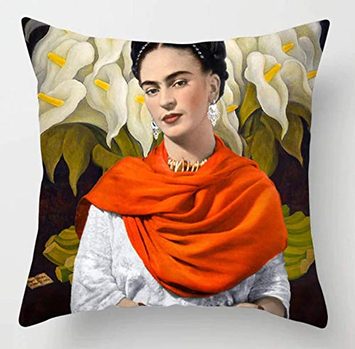 Cushion Cover Fabric Frida Kahlo Colorful Flowers Pillowcase 43x43cm/17x17'' Woven Pillow Covers Polyester&Linen Home Decor Cushion Cover for Sofa (A8)