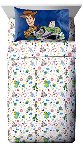Jay Franco Disney Toy Story Buzz & Woody Twin Sheet Set - 3 Piece Set Super Soft and Cozy Kid's Bedding - Fade Resistant Microfiber Sheets (Official Disney Product)