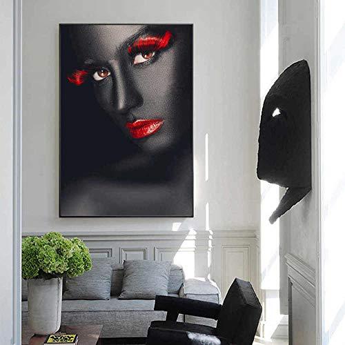 SADHAF Rote Wimpern und Lippen Schwarzes Mädchen Porträt Leinwanddruck Kunst Malerei Wohnzimmer Home Wanddekoration A2 40x50cm