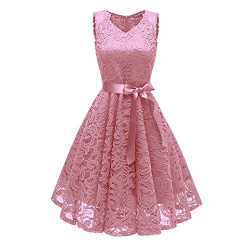 Damen Vintage Prinzessin Blumen Spitzekleid,TWIFER Cocktail V-Ausschnitt Party A-line Swing Kleid Abendkleider Hochzeitskleid (S, Rosa)