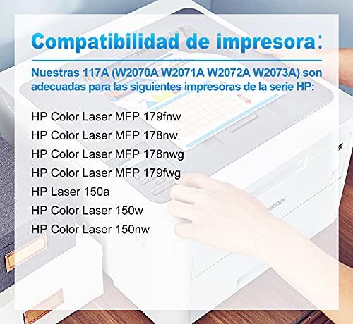 Clywenss 117A Cartuchos de tóner Compatible para HP W2070A W2071A W2072A W2073A HP Color Laser MFP 179fnw, MFP 178nw, MFP 178nwg, MFP 179fwg, 150a, 150nw Impresora (con Chip, Paquete de 4)