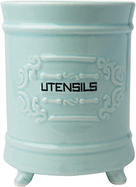 Amazon Com French Blue Ceramic Utensil Holder Vintage Style Kitchen Utensil Caddy Antique Design Cooking Utensil Organizer Rustic French Country Utensil Crock For Cooking Enthuziast Kitchen Dining