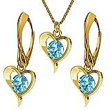 Juego de joyas de plata de ley 925 chapada en oro de 24 quilates con cristales de Swarovski – Corazón – Aguamarina – Pendientes para mujer – Collar con colgante