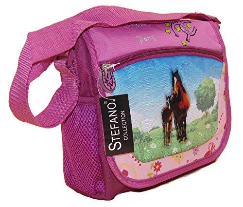STEFANO Kinder Reisegepäck Trolley Kitatasche Rucksack Brustbeutel 4 TLG. Set Pony/Pferd pink rosa -präsentiert von RabamtaGO®- (Kita Tasche)