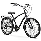 sixthreezero EVRYjourney Men's 21-Speed Hybrid Cruiser Bicycle, Matte Black w/Black Seat/Grips, 26' Wheels/19 Frame