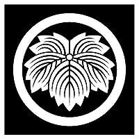 カッティングステッカー 家紋304 丸に鬼蔦 13cm(白)