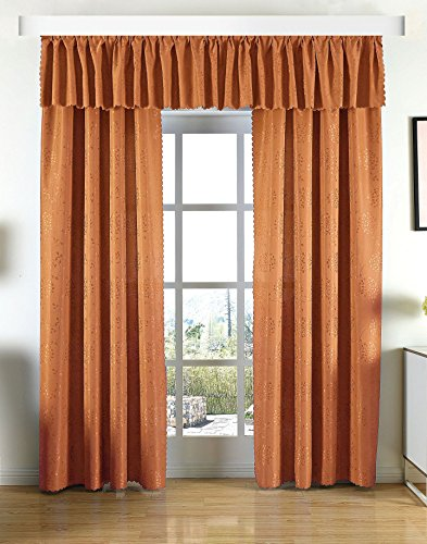 Yasmin Damast Gardinen Set, 5 Teile, eingenähtes Kräuselband bewährte Jacquard Qualität, Blickdicht HxB 245x145 cm Gold, 20107