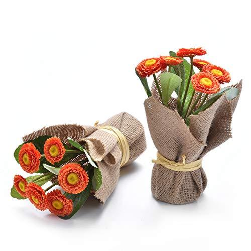 Paquete de 2 Plantas de Aster de Flores Artificiales, Ramo de Margaritas de...