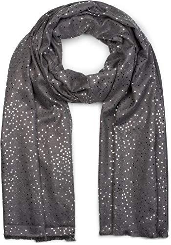 styleBREAKER Damen Schal mit Metallic Punkte Tupfen Muster, Stola, Tuch 01017081, Farbe:Dunkelgrau