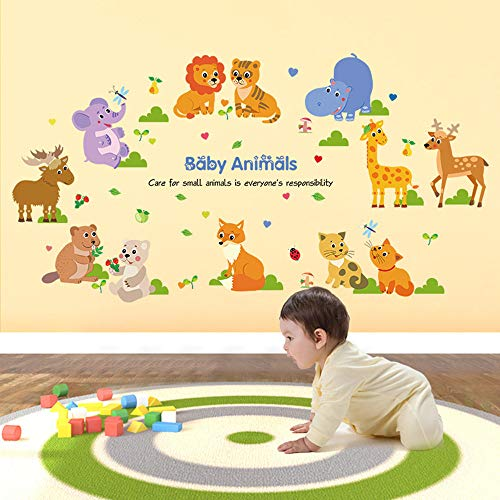 ufengke Wandsticker Kleine Tiere Wandaufkleber Wandtattoo Wald Elefant Giraffe für Kinderzimmer Babyzimmer